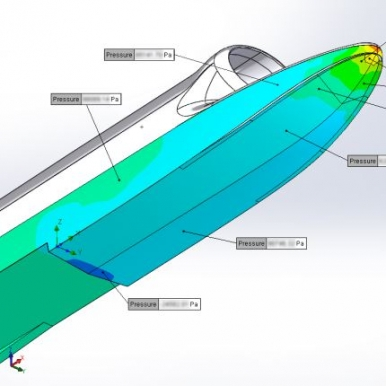 Computer-generated CFD image showing the distribution of water pressure over the boat's hull as it accelerates at the start of a run.
